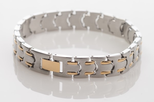 stainless steel and gold bracelet