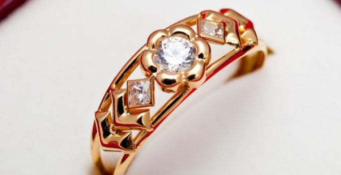 gold ring cz stone